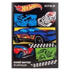 Картон белый односторонний Kite Hot Wheels HW19-254, А4, 10 листов, папка